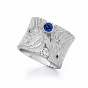 Gold Diamond Sapphire Ring with Blue Sapphires and Diamonds-LJD jewelry designs by Laura Jackowski-Dickson