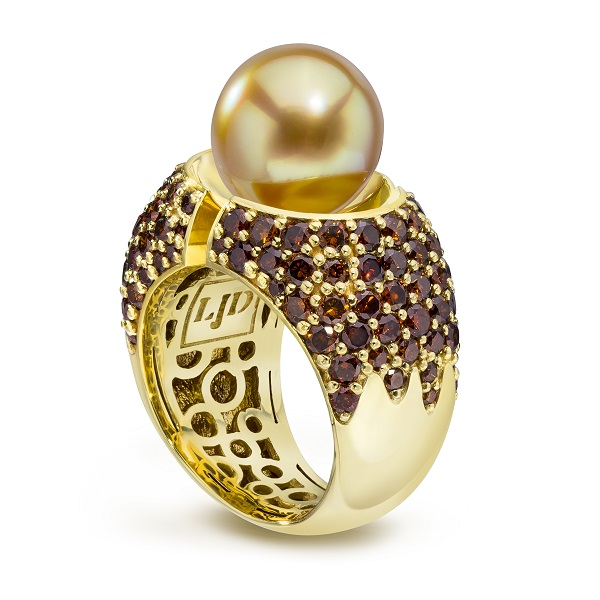 Gold Divided Pearl Ring with Cognac Diamonds - LJD Jewlery Designs by Laura Jackowski-Dickson
