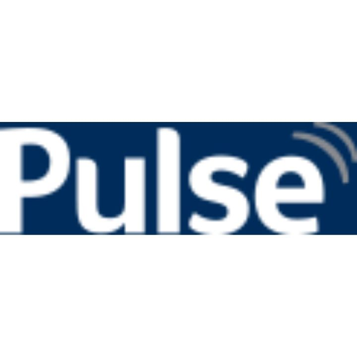 image of Pulse logo white lettering on blue background website-copywriter-pulse