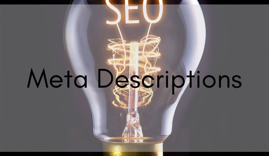 lightbulb with seo in filament, text says meta descriptions