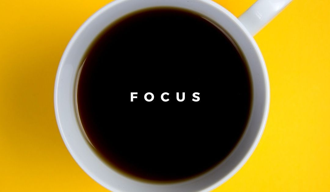 bright yellow background, cup of coffee with focus written through the middle.