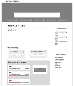 Wireframe of an article in Word