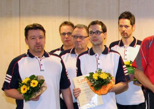 Silbermedaillengewinner KSG Lüneburg I von links: Thomas Zernechel (Ersatz), Nico Zotzmann, Joachim Müller, Michael Duda, Dennis Drews