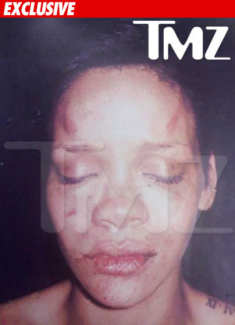 Rihanna's face after Chris