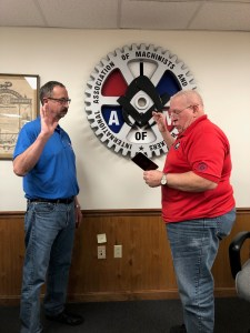 Steve Mader being sworn into Grievance Committee by President Mike Stoica