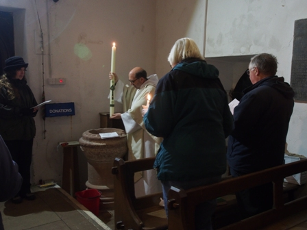 Blessing water at Easter Vigil