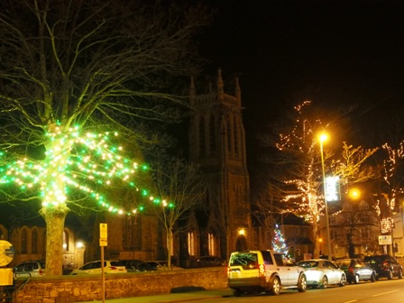 Christmas lights in Holy Trinity's grounds