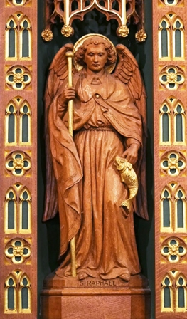 Carving of St Raphael