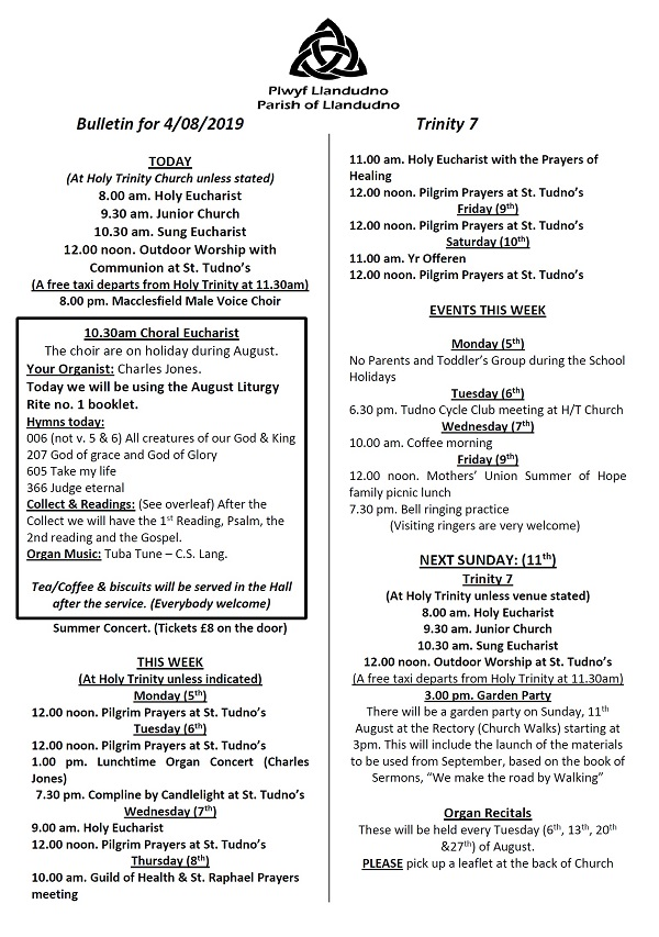 Bulletin for 4 August