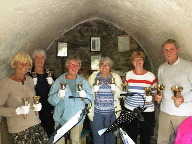 Handbell ringers in chapel