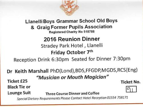 Annual Reunion Dinner 7th October 2016.Dr.Keith Marshall, Musician or Mouth Magician