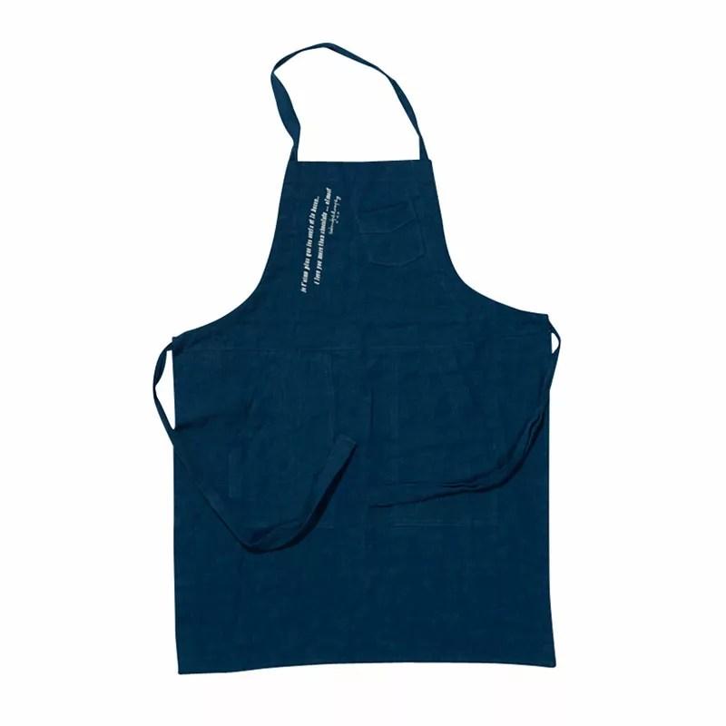 tablier de cuisine en lin bleu piscine