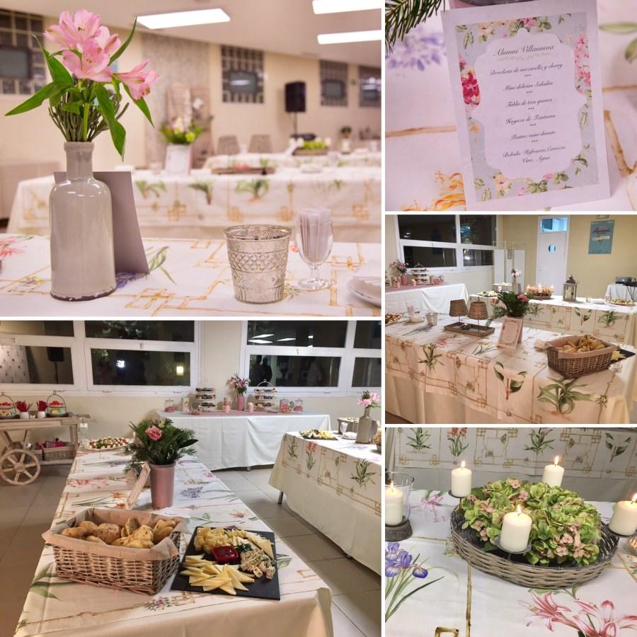 Decoración estilo provenzal de la cafetería del Centro Universitario Villanueva en el evento de Alumni Villanueva.