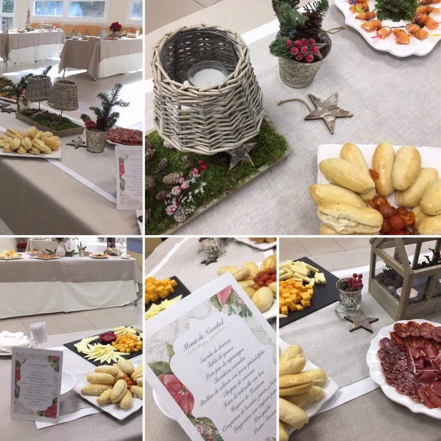 Decoración del comedor de Villanueva CU en la Comida de Navidad del profesorado.
