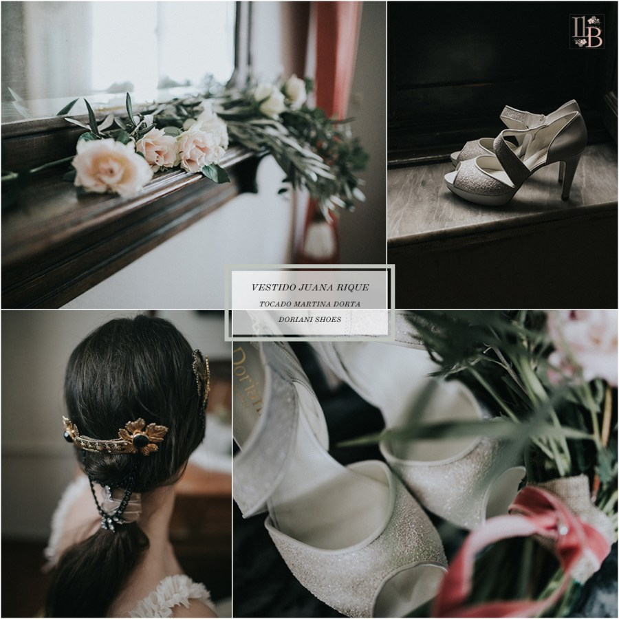 Colección novias Juana Rique. Tocado Martina Dorta. Doriani shoes. Post Llega mi Boda