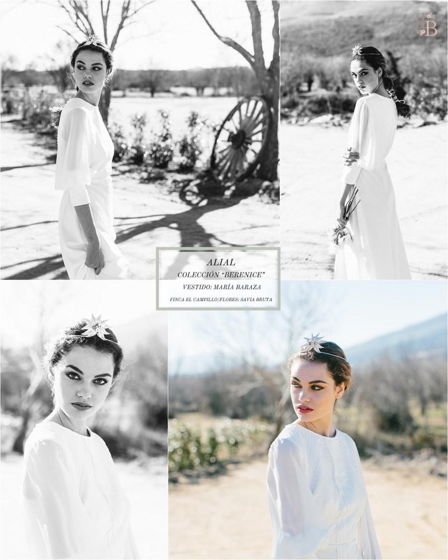 Berenice,la última colección deAlial.Vestido de novia de María Baraza. Finca el Campillo. Flores Savia Bruta.