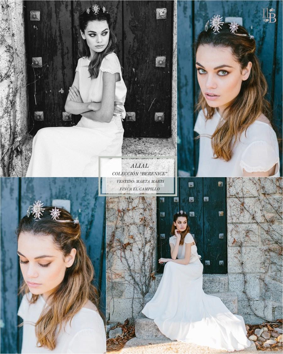 Berenice,la última colección deAlial.Vestido de novia de Marta Mart. Finca el Campillo. Flores Savia Bruta.