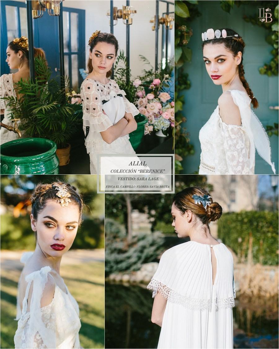 Berenice,la última colección deAlial.Vestido de novia de Sara Lage. Finca el Campillo. Flores Savia Bruta.