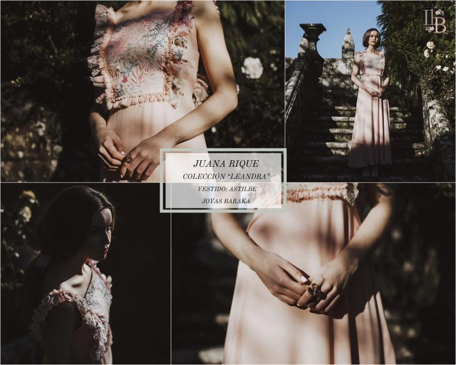 Juana Rique presenta su colección Leandra. Vestido Astilbe. Joyas Baraka