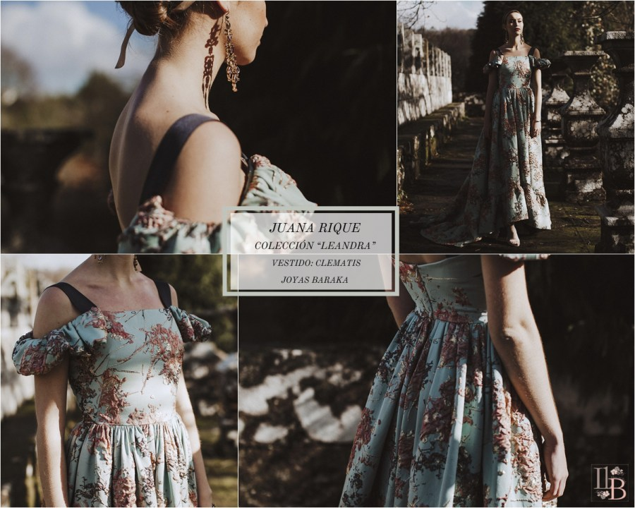 Juana Rique presenta su colección Leandra. Vestido Clematis. Joyas Baraka