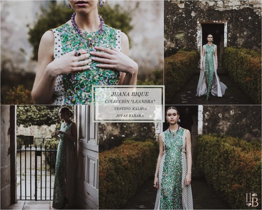 Juana Rique presenta su colección Leandra. Vestido Kalmia. Joyas Baraka