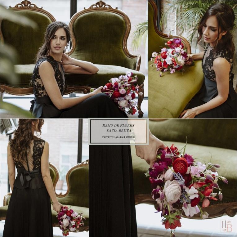 Nueva colección de ramos de novia de Savia Bruta. Vestido novia Juana Rique. Post en Llega mi Boda.