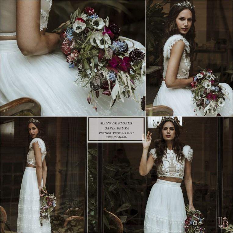 Nueva colección de ramos de novia de Savia Bruta. Vestido novia Victoria Imaz. Tocado Alial. Post en Llega mi Boda.