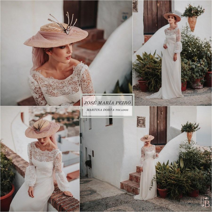 Frigiliana: Vestidos novia José María Peiró. Tocados Martina Dorta