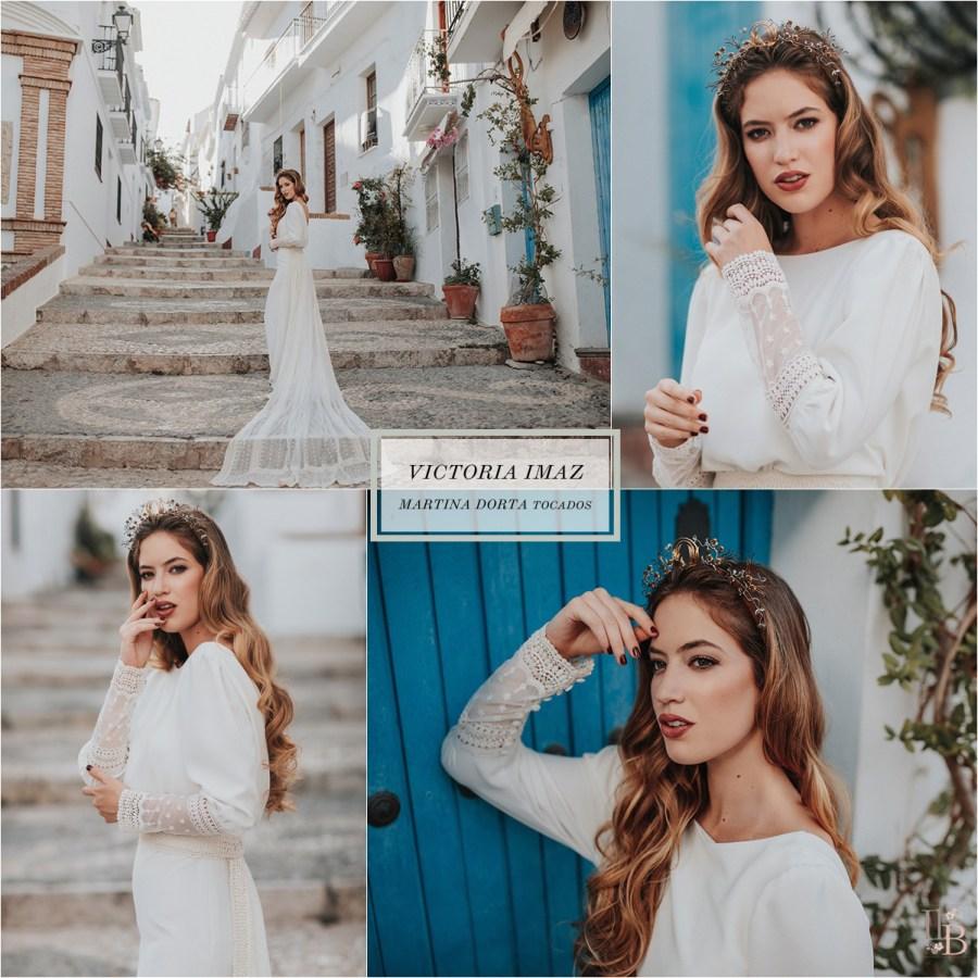 Frigiliana: Vestidos novia  Victoria Imaz. Tocados Martina Dorta