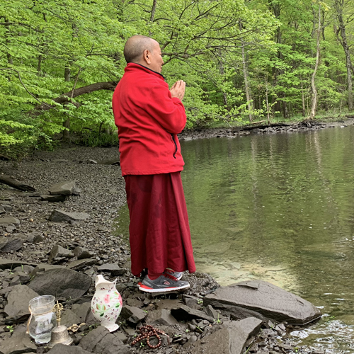 Lama Tenzin at Sawkill River