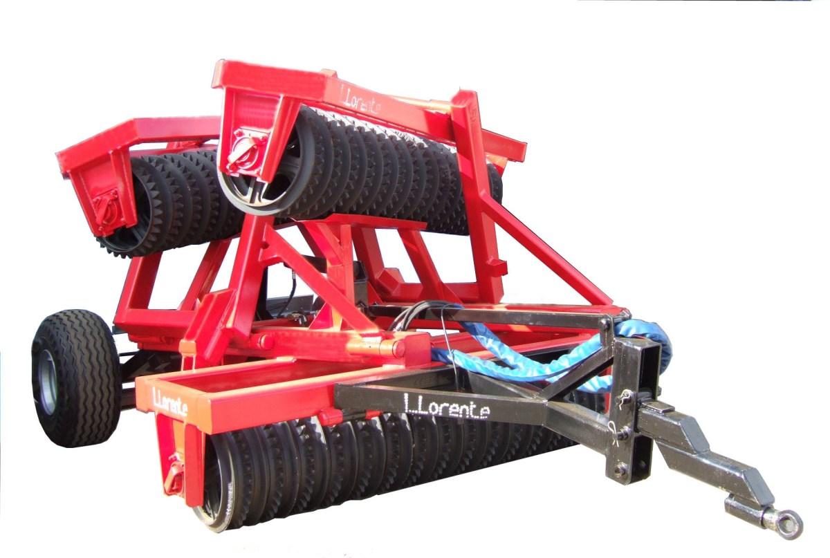 Rodillo agrícola modelo RTA de discos articulado plegado en tres cuerpos