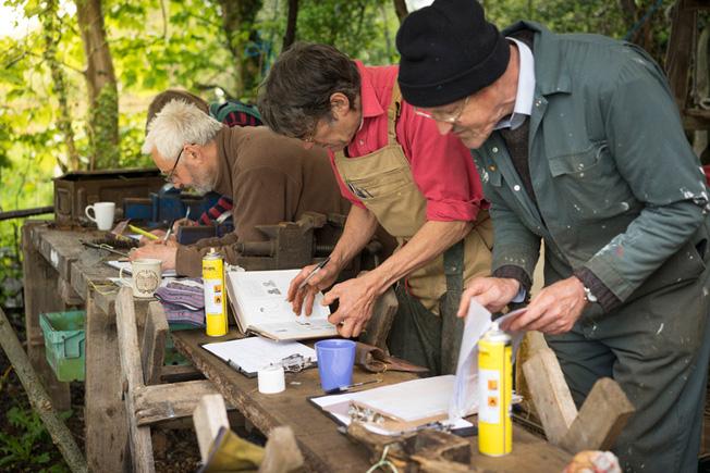 volunteers cataloguing