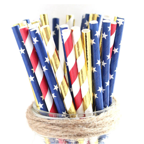 Red, White, Blue and Gold Wonder Woman Party Straws