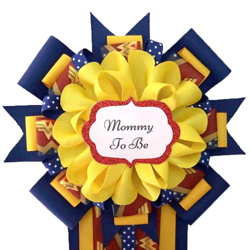 Wonder Woman Baby Shower Corsage Set
