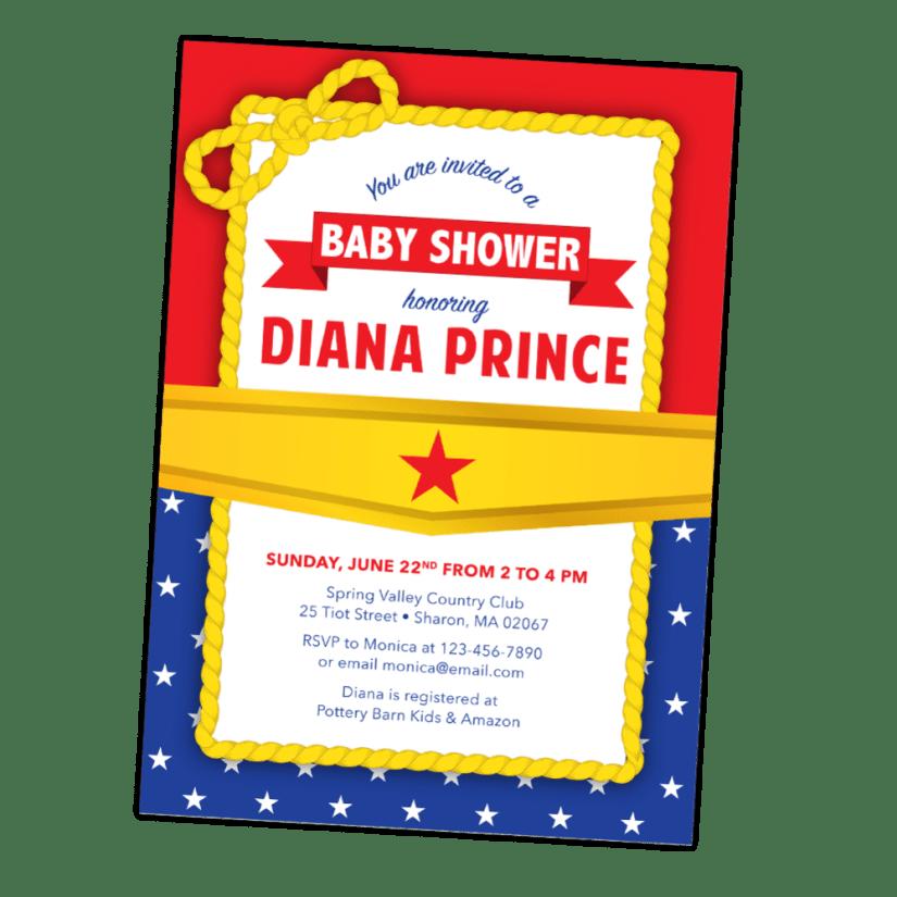 Wonder Woman Baby Shower Invitation