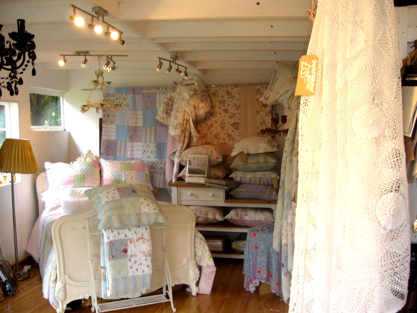 Patchwork Quilts From Linen Lace And Patchwork, Essex. Uk