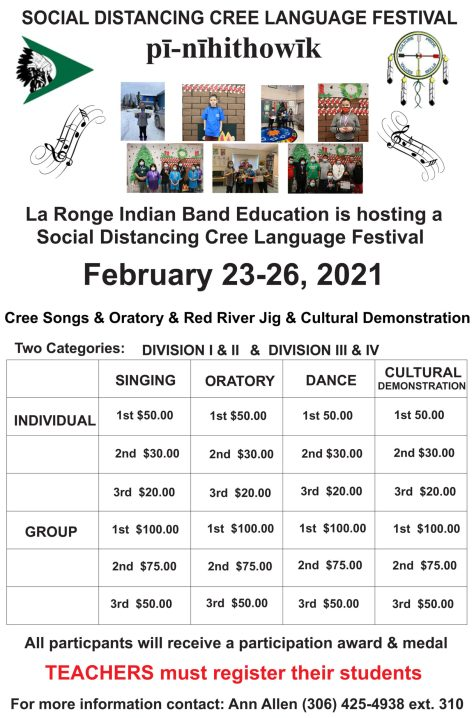 February 23-26, 2021 Cree Songs & Oratory & Red River Jig & Cultural Demonstration SOCIAL DISTANCING CREE LANGUAGE FESTIVAL Social Distancing Cree Language Festival