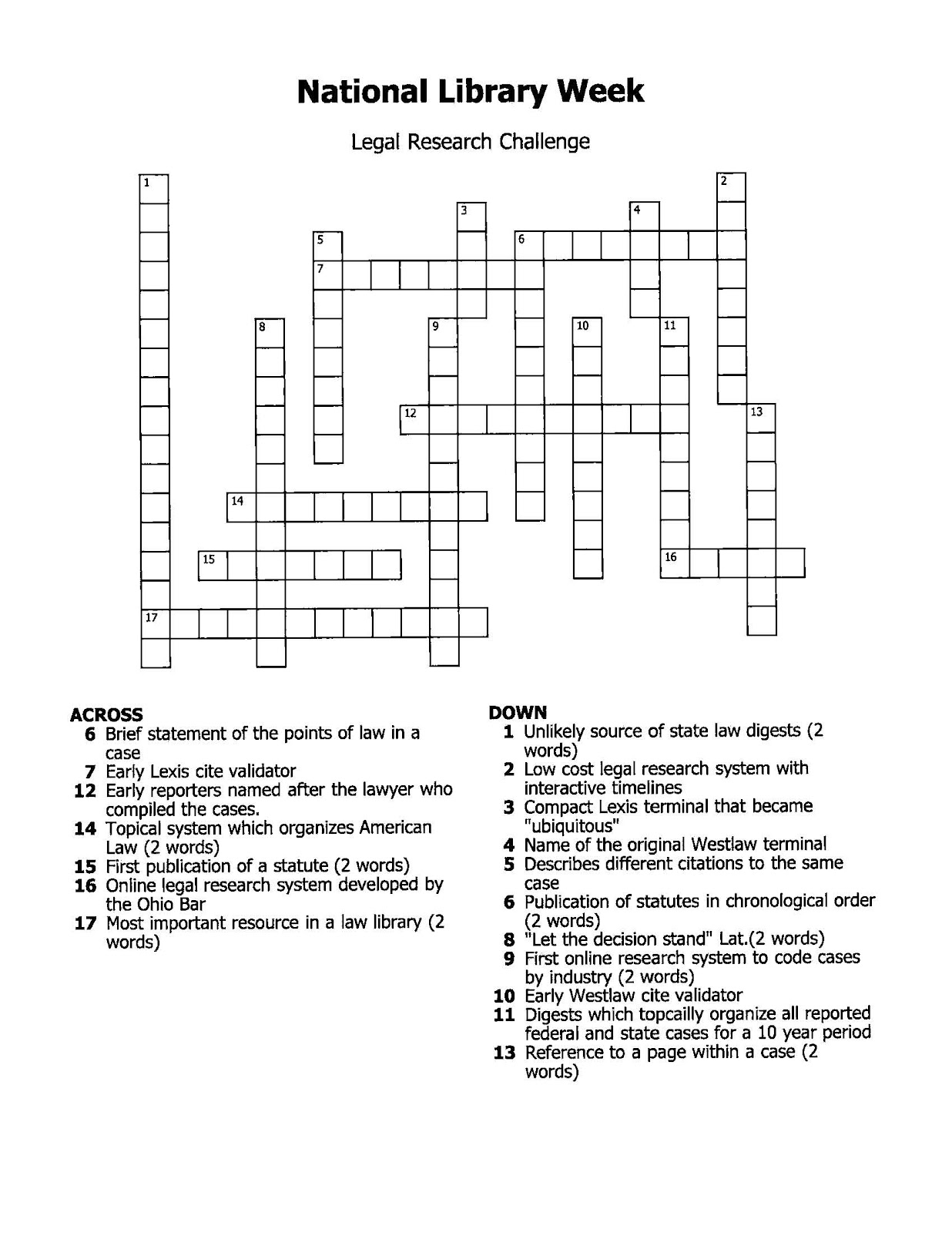 Friday Funnies Legal Research Trivia Crossword