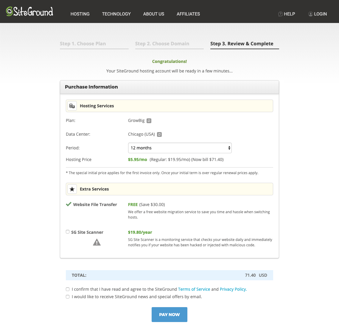 Siteground website hosting plans