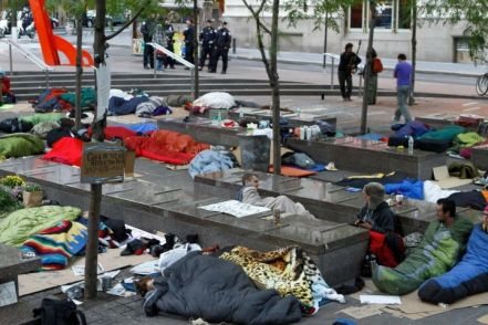 Occupy Wall Street camping on street