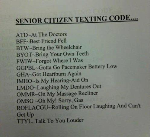 Hump Day humor Senior citizens texting codes