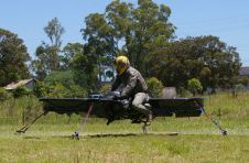 Hoverbike tethered to the ground