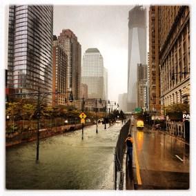 Sandy flooded street city
