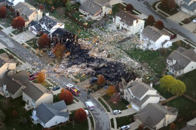 AFTER. Aerial view of south side Indy homes after destroyed by explosion. (AP Photo/The Indianapolis Star, Matt Kryger)