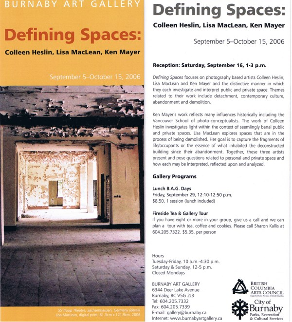 Defining Spaces Exhibition Invitation Burnaby Art Ms. Poiesis