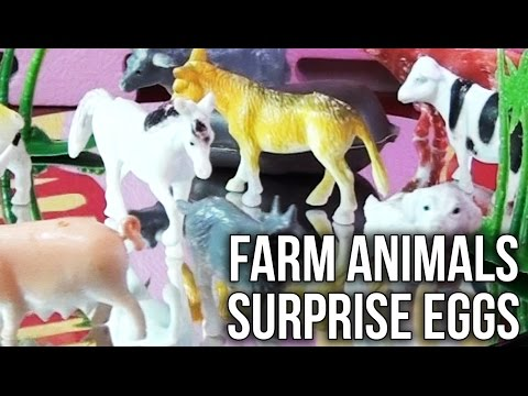 Surprise Eggs Farm Animals Toys with Funny Animal Sounds Horse Cow Pig Sheep Dog Donkey Bull