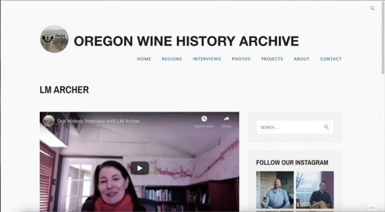 Linfield University's Oregon Wine History Archive interviews writer L.M. Archer.