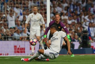 Casemiro fires the follow-up home after Sergio Ramos' volley hits the post, to put Real Madrid ahead. Image from: Reuters