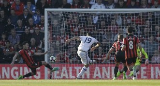 Diego Costa's miscued effort is deflected home off Adam Smith to put Chelsea ahead. Image from: AP