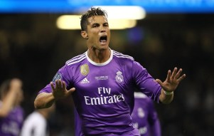 Cristiano Ronaldo celebrates after putting Real Madrid ahead. Image from: Getty